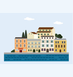 Mediterranean landscape by sea italian or vector