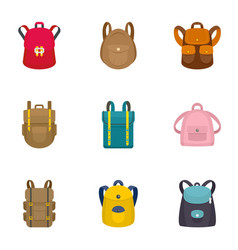 modern backpack icon set flat style vector image