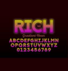 Modern neon style font alphabet letters vector