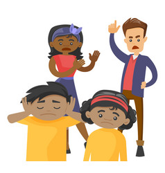 multiracial parents scolding their mulatto kids vector image
