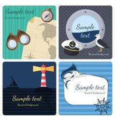 Nautical mini posters set vector