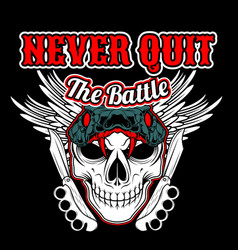 never quit battleskull and knife knuckle with vector image