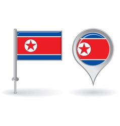 North Korean pin icon and map pointer flag vector image