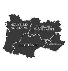Nouvelle - aquitaine - occitanie - auvergne vector