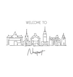 One single line drawing newport city skyline vector