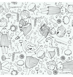 pattern with cute girl princess musical vector image