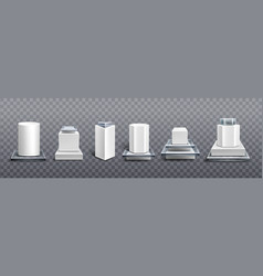 Pedestals from white plastic and glass vector