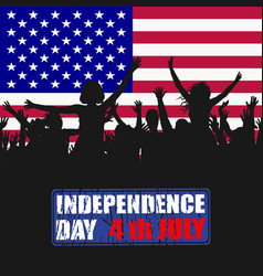 people silhouettes celebrating usa independence vector image