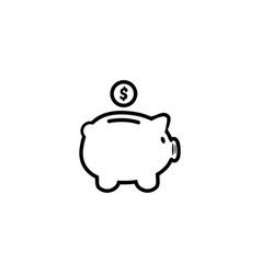 piggy bank in a flat style piggy bank with coin vector image