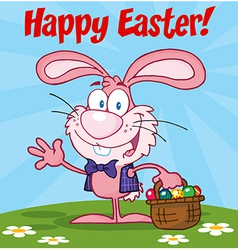 Pink Happy Easter Bunny Carrying A Basket Of Eggs vector image