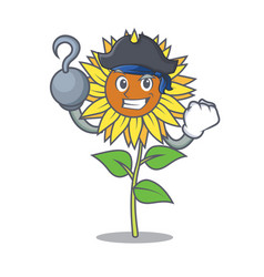 pirate sunflower character cartoon style vector image