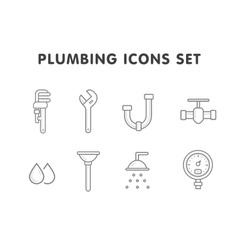 Plumbing line icons set vector