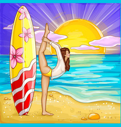 pop art surfing girl doing yoga vector image