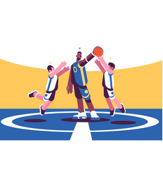 Professional basketball players on court vector