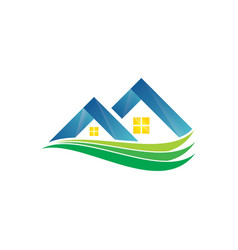 real estate with swirl logo design vector image