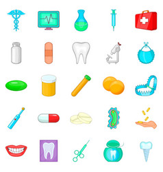 restoration of teeth icons set cartoon style vector image