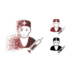 Sadly dissipated pixelated halftone doctor icon vector