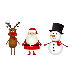 santa claus with reindeer and a snowman standing vector image