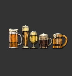 set beer glasses vector image