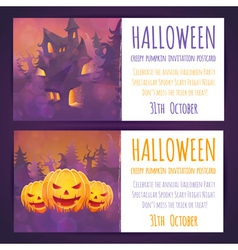Set halloween banners with spooky haunted house vector