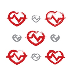 Set of hand-drawn red heart icons collection of vector image