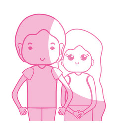 Silhouette beauty couple together with hairstyle vector