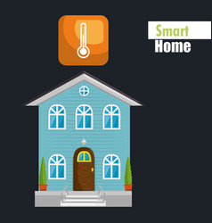 Smart house with termometer temperature service vector