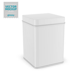 Square glossy tin can template realistic vector