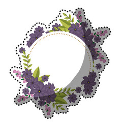 Sticker circular frame with violet floral bouquet vector