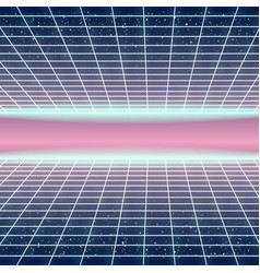 Synthwave retro futuristic landscape with styled vector