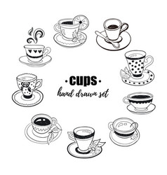 Tea cups collection vector