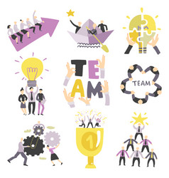 Teamwork symbols set vector