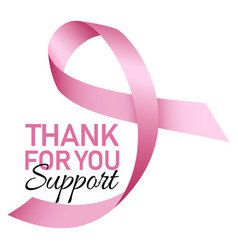 Thanks for support breast cancer logo realistic vector