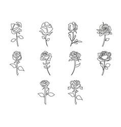 Thin line rose icon set vector