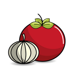 Tomato and garlic vegetable icon vector