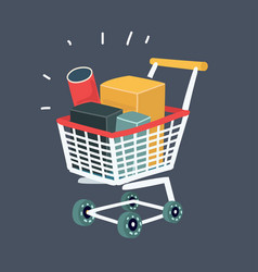 Trolley full products in supermarket vector
