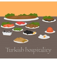 Turkish hospitality Common main and side dishes vector image