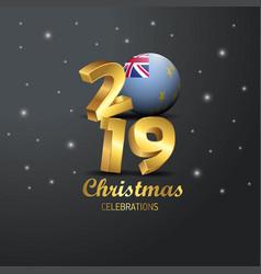 Tuvalu flag 2019 merry christmas typography new vector