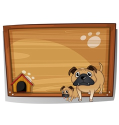 Two bulldogs beside a wooden board vector image