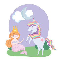 Unicorn and mermaid character grass cloud moon vector