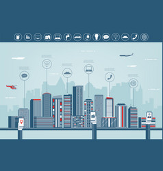 urban landscape with infographic elements modern vector image