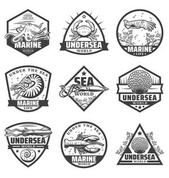 Vintage monochrome marine animals labels set vector
