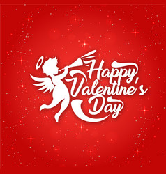 White happy valentines day cupid red blackground v vector