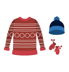 Winter clothes with red wool sweater and blue wool vector