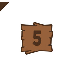 wooden alphabet blocks with number 5 in wood vector image