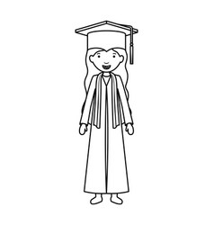 Young girl graduate character vector
