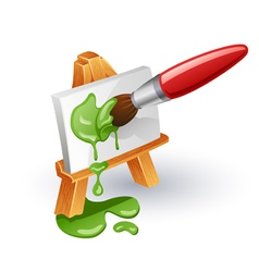 easel and paintbrush vector image vector image