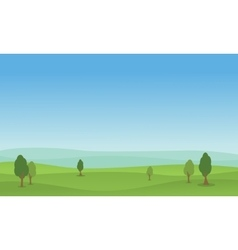 flat of hill green landscape vector image