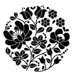 Kalocsai black embroidery - Hungarian pattern vector image vector image