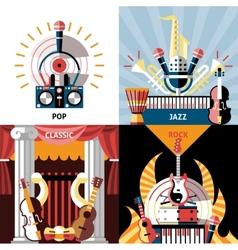 Musical instruments flat set vector image